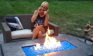 Stamped concrete, firepits, fire feature, Outdoor living spaces, decorative concrete contractor