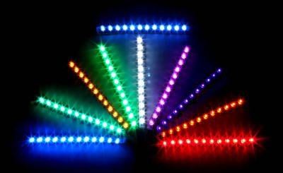 A picture depicting all the colors that may be used in Photodynamic Therapy (PDT) also known as LED.