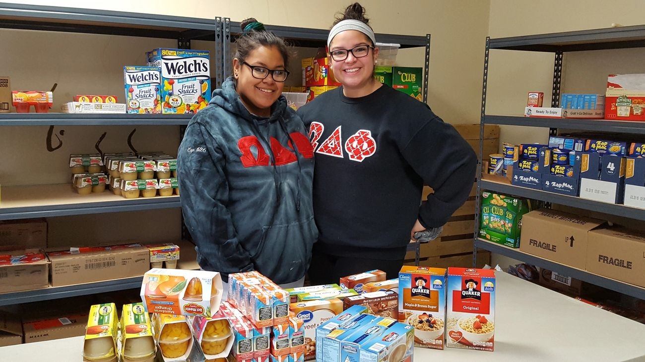 Omega Delta Phi Sorority collected food items for the program, thanks Amy and Yalisha!