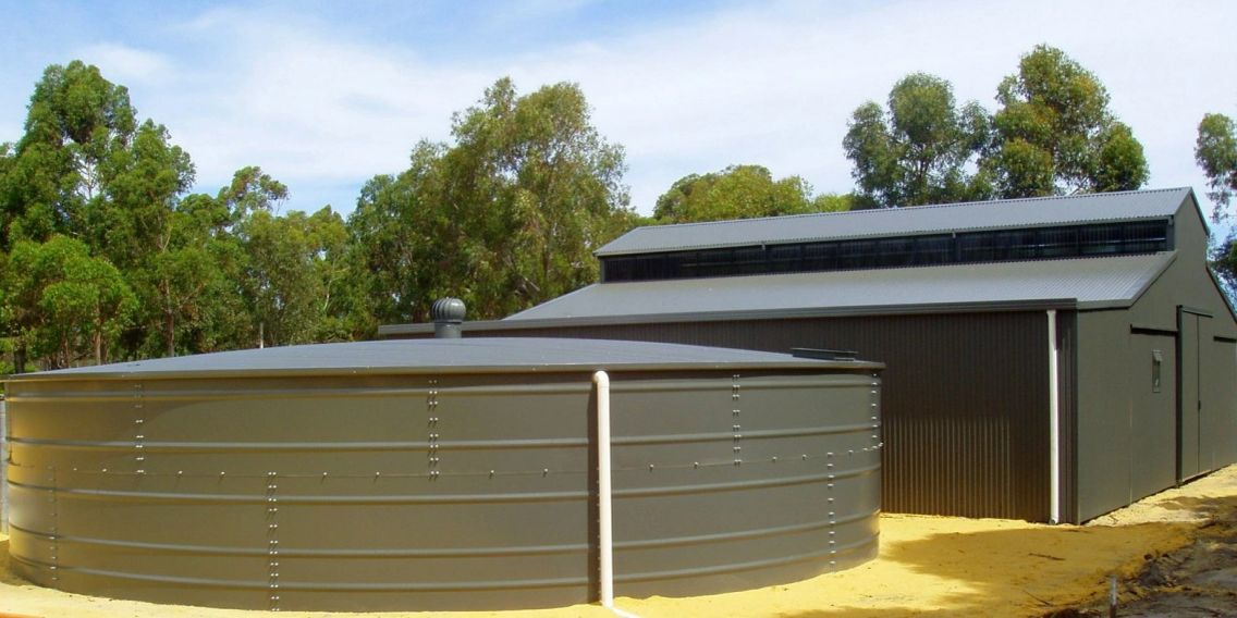 Smart Tanks Rural Australian Water Tank rolled ribs, brick format, steel bolted with Liner