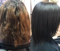 Before and after Keratin and Color by Vanessa Mills