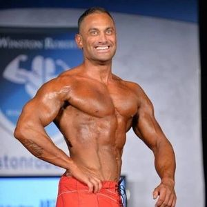 James Hergott competing in bodybuilding physique show at the the Winston invitational.