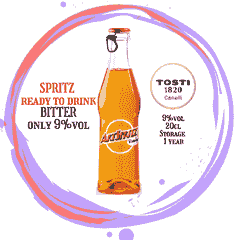 Ready to DRINK Spritz, Slightly Alcoholic Italian Aperitif, taste little bitter. 20cl bottle 9%vol