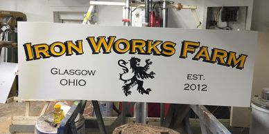 Carved High Density Urethane sign approx 2x8ft.
