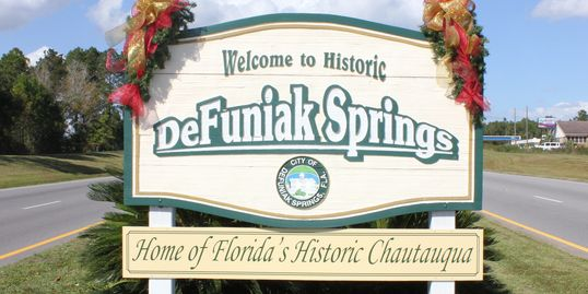 Welcome to DeFuniak Springs sign on U.S. Highway 331 North.