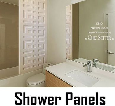 Shower Panels. Carved Patterns. Mold & Mildew Resistant. Easy to Clean. Made in USA by CHIC SETTER