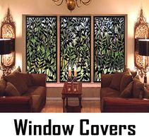 Window Covers. Sliding panels on tracks. An alternative to curtains & drapes. Made by CHIC SETTER