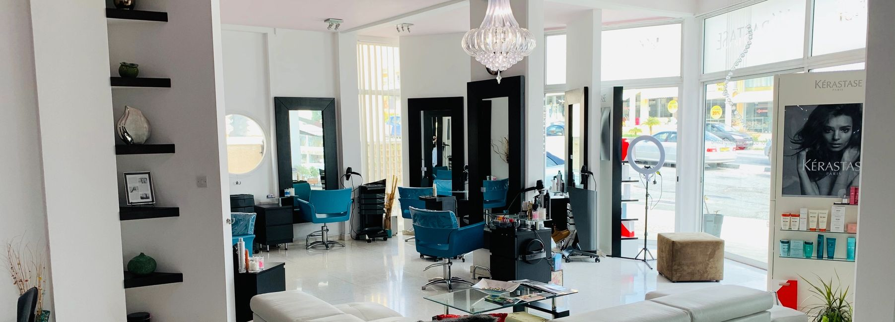 An interior photo of Helen Charles hair salon in Paphos.
