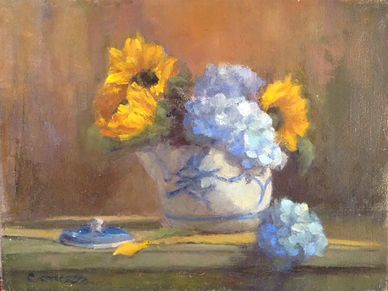 sunflowers and hydrangeas. still life oil painting.