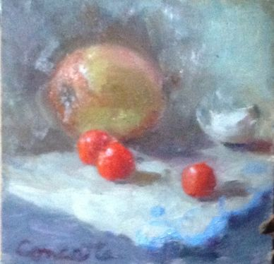 Still life oil painting.  onion, garlic, cherry tomatoes.