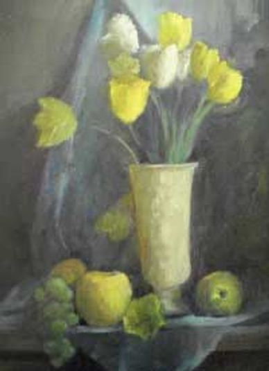 Tulips spring, garden oil painting still life. yellow apples and green grapes.