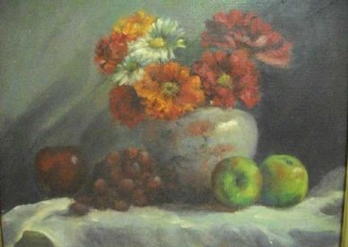 Zinias from my garden. still life oil painting. with apples and grapes