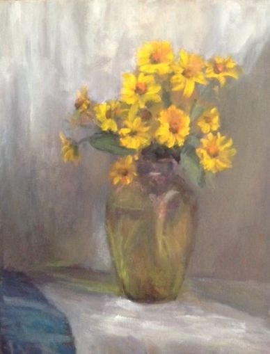 yellow perrenials from my garden. My vintage glass vase. still life oil painting. yellow daisies. gr
