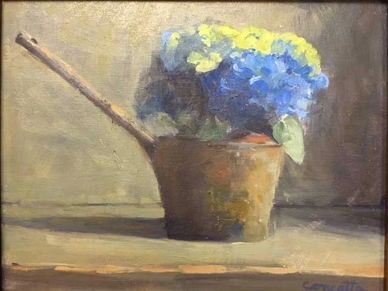 hydrangeas in antique ladle  garden flowers. still life oil painting.
