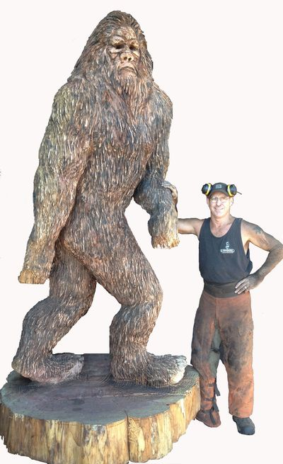 Kevin with a 12 foot tall sasquatch aka bigfoot