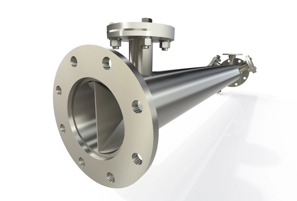 Side view of inline mixer with flange.