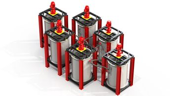 Specialized mixers with gaseous chambers that interlink with each other.