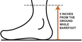 Graphic showing you should measure around your lower leg at 5 inches off the floor for gaiter size