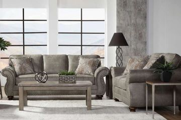 Hughes Furniture Sofa & Loveseat in Goliath Mica with Pewter Nailheads Retail $1399 Our Price $999