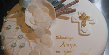 Religious Cake Photos, Baptism, Christening, Confirmation Bible, Scripture, and Cross Cakes