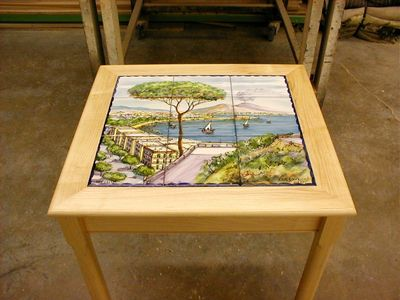 Morris Woodworking in CT tile inset table