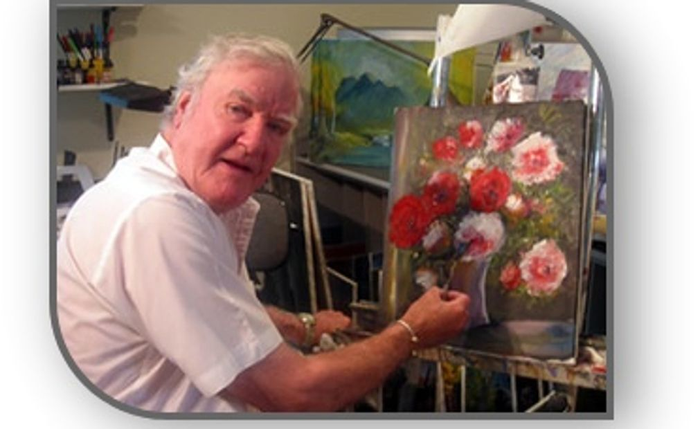 James Best painting beautiful flowers.