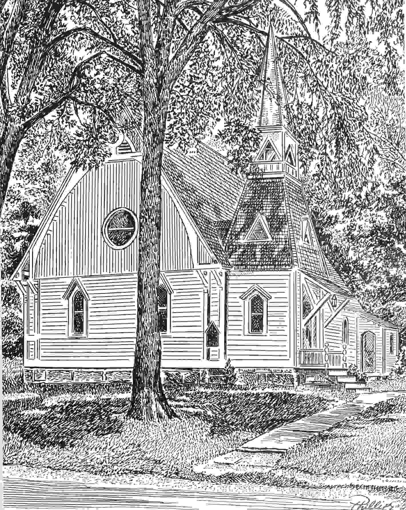 Black and white detailed sketch of Trinity Church at its first location, Maple Avenue, Collinsville.