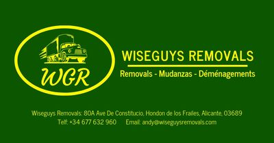Wiseguys European & International Removals, Packing & Storage, legally registered in Spain covering UK, Spain, France, Belgium and the Netherlands.