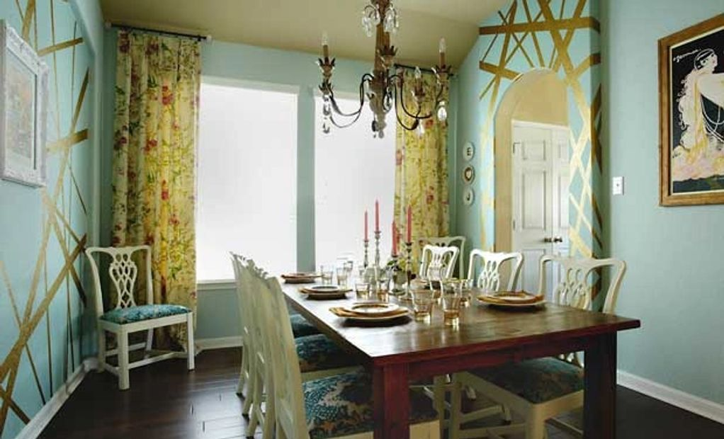 Formal dining room paint treatment blue and gold
