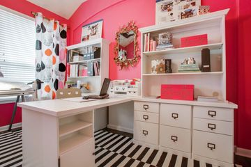 Pink home office