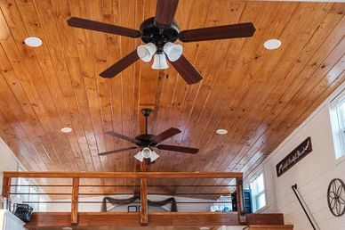 Cabin upgrades available. Not crazy about ceiling fans? Swap for twig chandeliers. Customize!