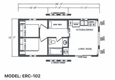 Elegant Rustic Cabins Tiny Home Floor-plan MODEL: ERC - 102