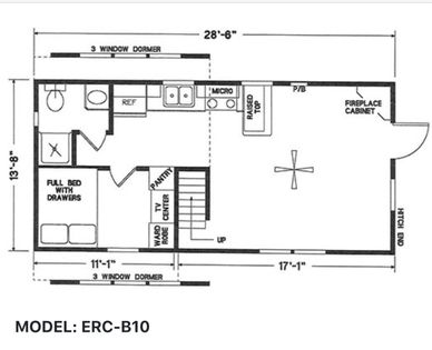Elegant Rustic Cabins Tiny Home Floor-plan MODEL: ERC - B10