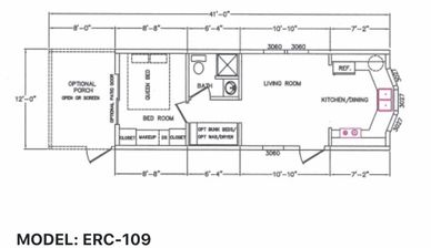 Elegant Rustic Cabins Tiny Home Floor-plan MODEL: ER - 109