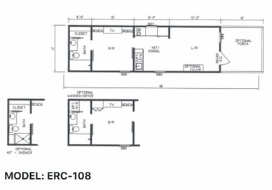 Elegant Rustic Cabins Tiny Home Floor-plan MODEL: ERC - 108