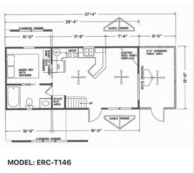 Elegant Rustic Cabins Tiny Home Floor-plan MODEL: ERC - T146