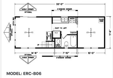 Elegant Rustic Cabins Tiny Home Floor-plan MODEL: ERC - B06