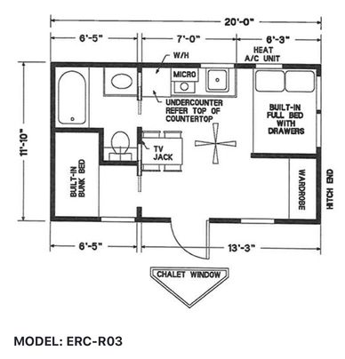 Elegant Rustic Cabin Tiny Home Floor-plan MODEL: ERC - RO3