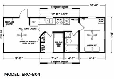 Elegant Rustic Cabins Tiny Home Floor-plan MODEL: ERC - B04
