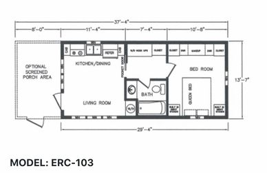 Elegant Rustic Cabins Tiny Home Floor-plan MODEL: ERC - 104