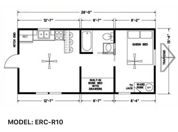 Elegant Rustic Cabins Tiny Home Floor-plan MODEL: ERC - R10