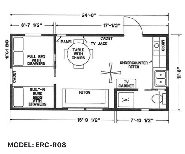 Elegant Rustic Cabin Tiny Home Floor-plan MODEL: ERC - R08