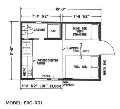 Elegant Rustic Cabins Tiny Home Floor-plan MODEL: ERC - R01