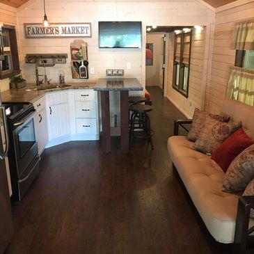 Design your space in a workable, flowing, open, floor-plan suitable to your personal style for your customized tiny home.