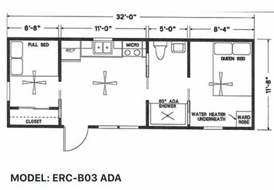 Elegant Rustic Cabins Tiny Home Floor-plan MODEL: ERC - B03 ADA