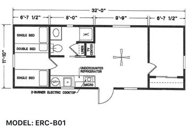 Elegant Rustic Cabins Tiny Home Floor-plan MODEL: ERC - B01