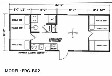 Elegant Rustic Cabins Tiny Home Floor-plan MODEL: ERC - B02