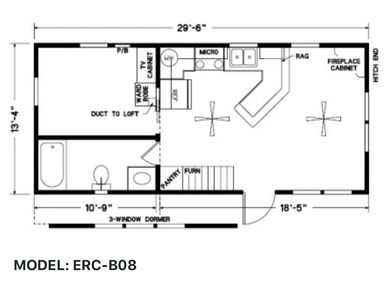 Elegant Rustic Cabins Tiny Home Floor-plan MODEL: ERC - B08