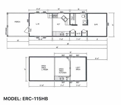 Elegant Rustic Cabins Tiny Home Floor-plan MODEL: ERC - 115HB