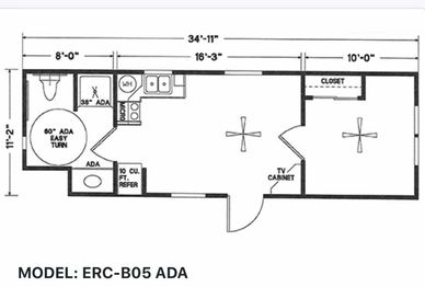 Elegant Rustic Cabins Tiny Home Floor-plan MODEL: ERC - B05 ADA